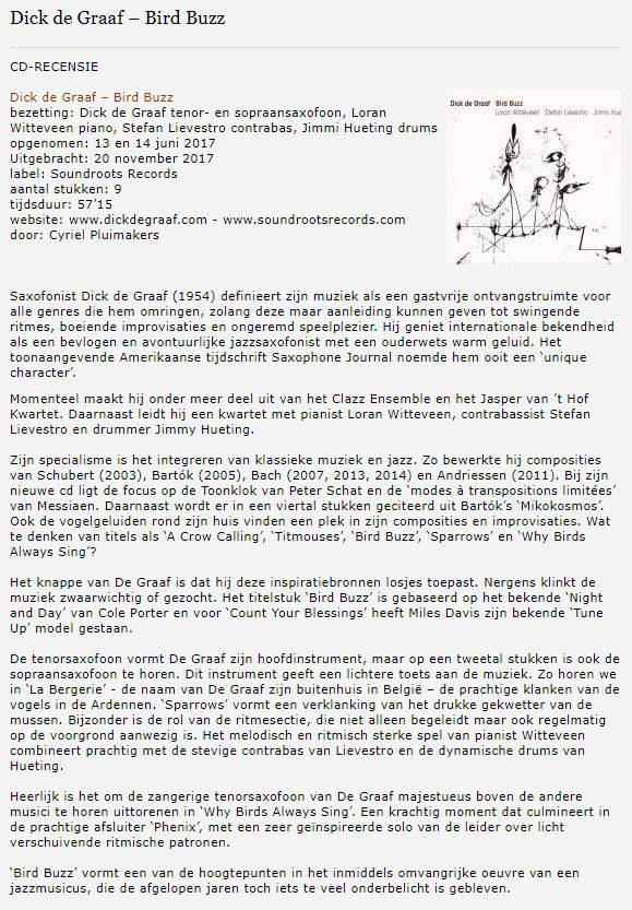 CD-recensie Bird Buzz Jazzenzo 18 november 2017
